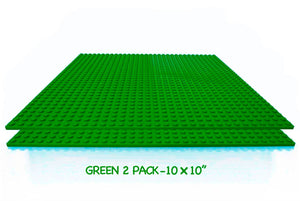 "BreoLife Brick Building Baseplates, Works with Major Brick Building Sets, Wonderful Plate for Kids, Green, 2 pieces of 10"" x 10"
