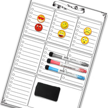 "Load image into Gallery viewer, Magnetic Refrigerator Weekly Calendar 17"" x 11"" Dry Erase Board Planner Kitchen Fridge, BONUS 6 Emoji Magnets + 3 Magnetic Dry Erase Markers"