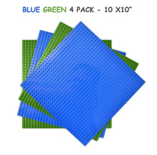 "Load image into Gallery viewer, All Major Building Block Platforms Compatible Baseplates (4 pieces of 10"" x 10"") in Blue and Green, Works with Major Brick Building Sets, Wonderful Plate for Kids"