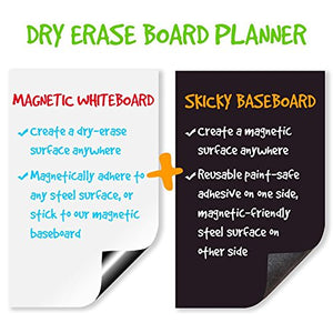 "Magnetic Refrigerator Calendar 17"" x 11"" Dry Erase Board Planner Calendar for Kitchen Fridge With Iron Base"