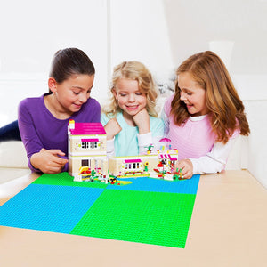 "Mako Toys Baseplates (4 pieces of 10"" x 10""), Works with Major Brick Building Sets, Wonderful Plate for Kids (Green)"