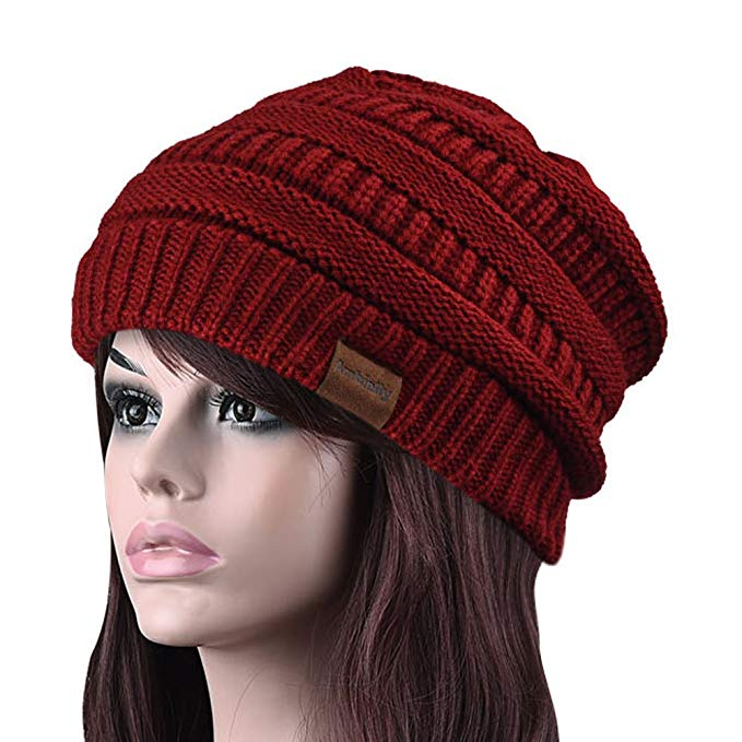 Ambielly Women hat Chunky Knit Beanie Winter Warm Hat Beanie Skull Cap for Women&Men