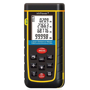 MVPower Newest Handheld Laser Distance Meter with Bubble Level Rangefinder Range Finder Tape measure Large LCD with Backlight - Black&Yellow (80m (262ft))