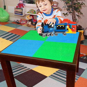 "All Major Building Block Platforms Compatible Baseplates (4 pieces of 10"" x 10"") in Blue and Green, Works with Major Brick Building Sets, Wonderful Plate for Kids"