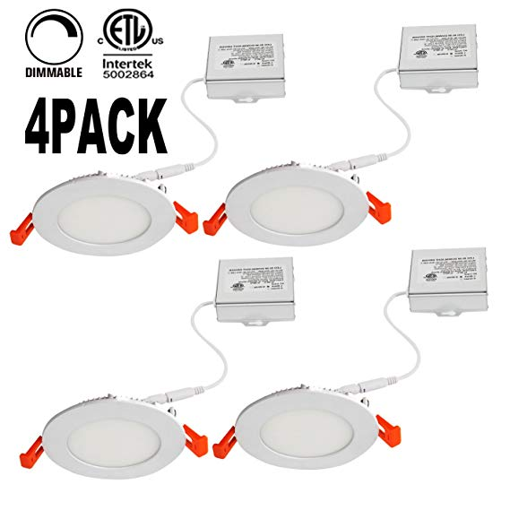 OOOLED 4 Inch 9W Dimmable Slim Led Downlight (65W Equivalent) ETL Listed 600LM 3000K Warmlight Junction Box Recessed Lighting led ceiling light,4 Pack (3000K)