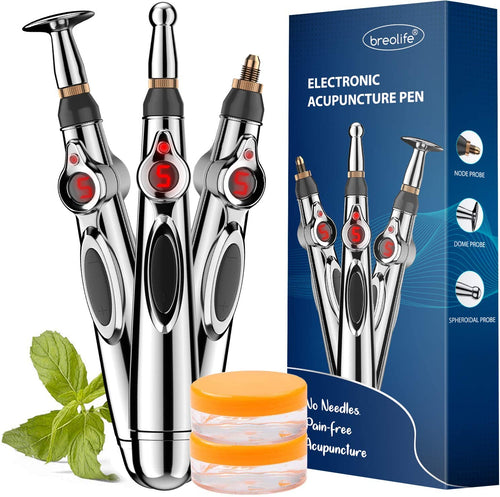 Acupuncture Pen, Electronic Acupuncture Pen for Pain Relief Therapy, Powerful Meridian Energy Pen Relief Pain Tools (3 Heads)