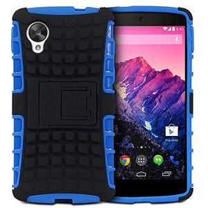 Fosmon HYBO-RAGGED Series Detachable Hybrid TPU + PC Case Cover with Kick Stand Function for the New LG Google Nexus 5 (Blue)