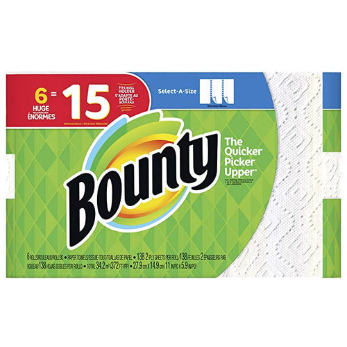 Bounty Select-A-Size Paper Towels, White, Huge Rolls, 6 Count (Equal to 15 Regular Rolls)