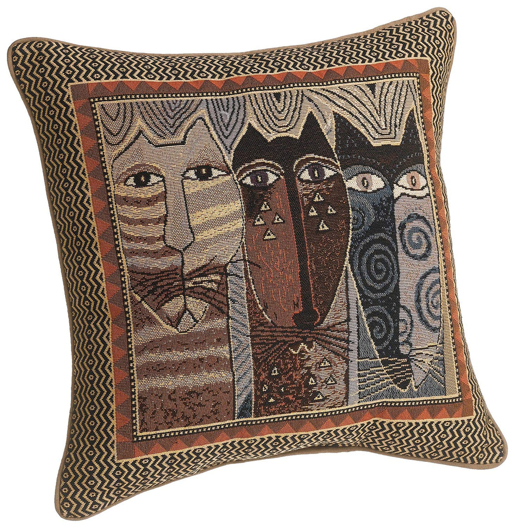 Brentwood Laurel Burch Native Felines Square Pillow, 18-Inch