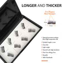 Load image into Gallery viewer, Newest Dual Magnetic False Eyelashes Fake Lashes with Free Tweezer - 3D Handmade Reusable and Easy to Apply Ultra Thin Magnets, Half-Lash, Natural Look, Glue Free (1 Pack 8 Pcs)