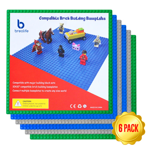 BreoLife Building Base Plates- Compatible Baseplates (6 pieces of 10