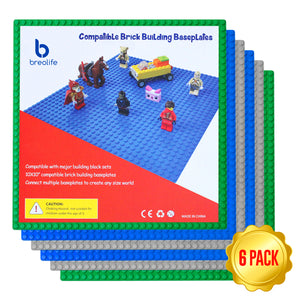 "BreoLife Building Base Plates- Compatible Baseplates (6 pieces of 10"" x 10"") in Blue, Green and Gray, Works with Major Brick Building Sets, Wonderful Plate for Kids (Blue/Green/Gray)"