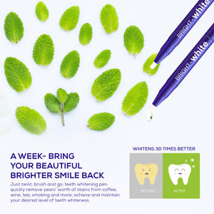 Teeth Whitening Gel Pen, Teeth Whitener Hydrogen Peroxide Teeth Stain Remover, No Sensitivity, 20+ Whitening Treatments - Mint Flavor