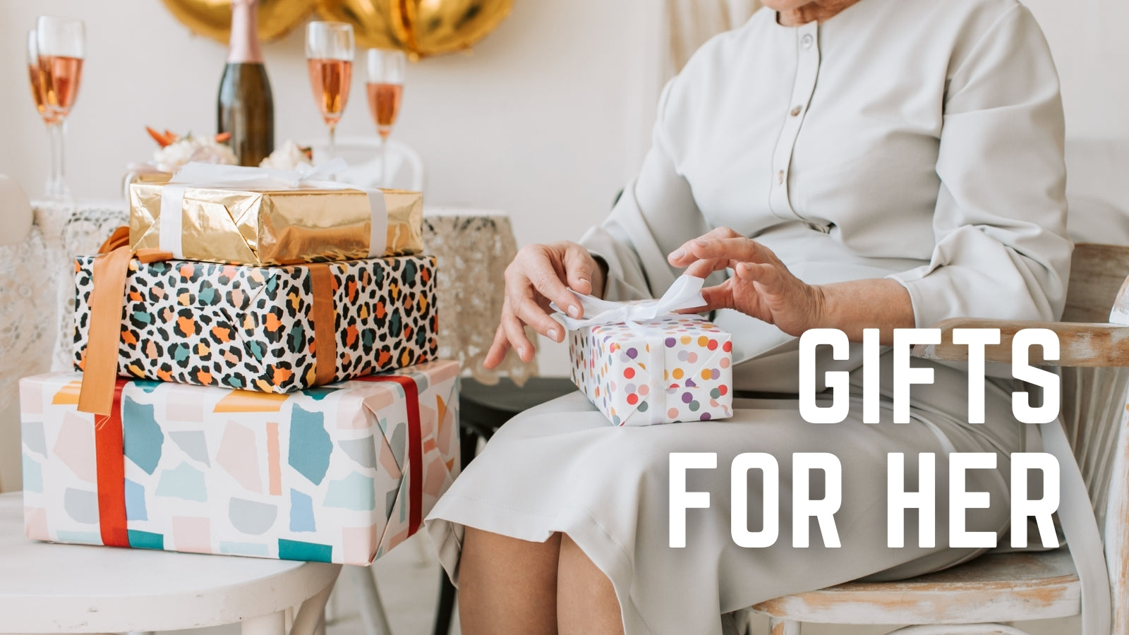 Gifts for Her collection. Candles. Apparel. Home accessories. Books. Jewellery. Bath and Beauty.