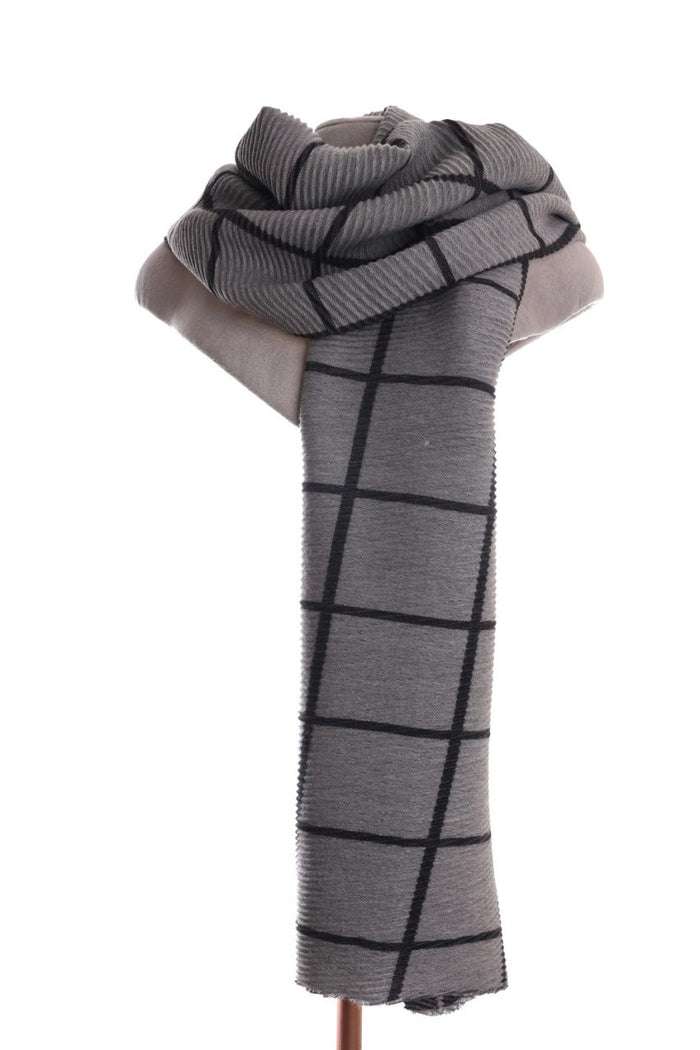 Pleated Scarf Check Grey