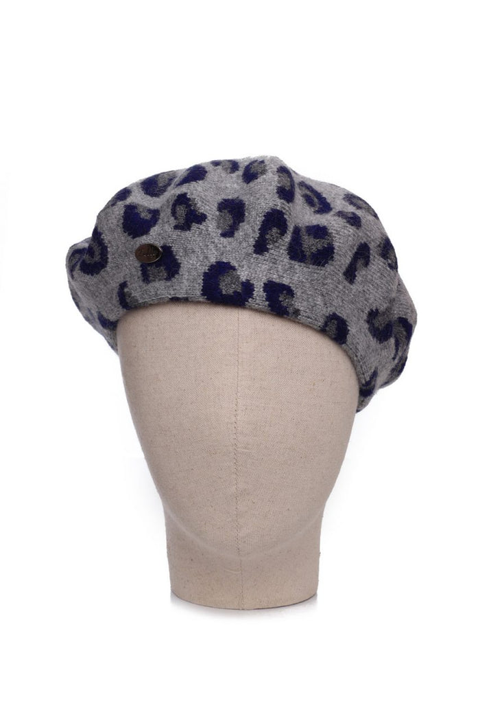 Cashmere Animal Print Beret Navy
