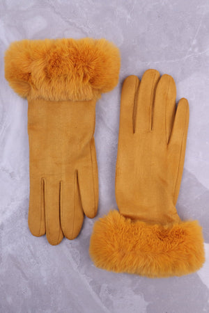 Mustard Faux Fur Gloves