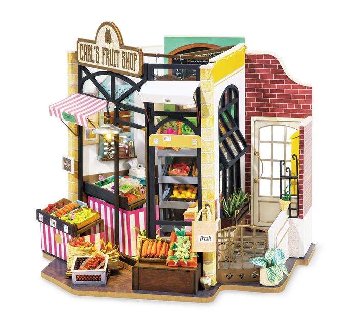 Robotime Carl's Fruit Shop Vegetable Market DIY Miniature