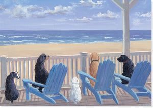 Dogs in Deck Chairs Note Cards