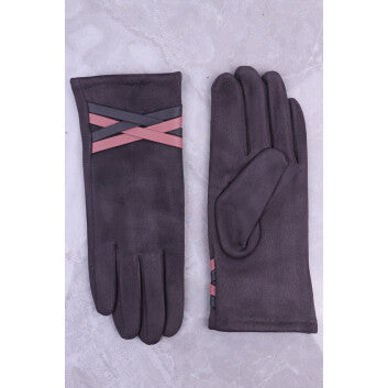 Grey Gloves Faux Leather Trim