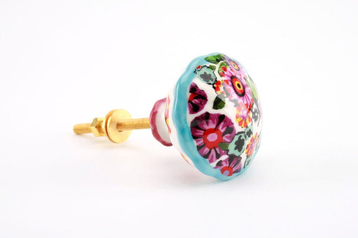Hand Painted Flower Ceramic Cabinet Knob