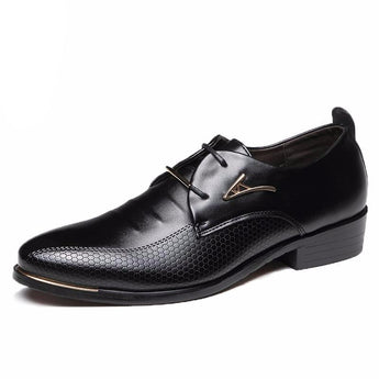 Pointed Toe Lace Up Men's Business Casual Shoes