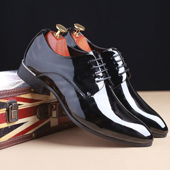 Pointed Toe Business Wedding Patent Leather Oxford Shoes