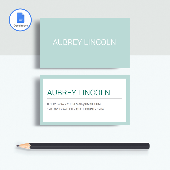 Aubrey Lincoln | Google Docs Professional Business Cards Template - MioDocs