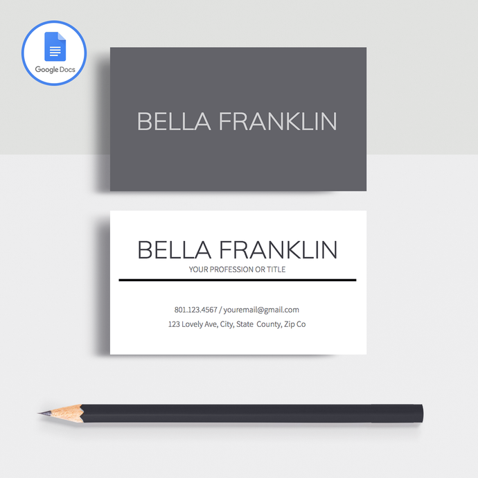 Bella Franklin | Google Docs Professional Business Cards Template