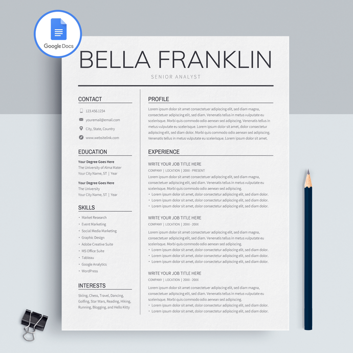 Bella Franklin | Google Docs Resume Template | CV Template