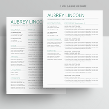 Load image into Gallery viewer, Aubrey Lincoln | Google Docs Resume Template | CV Template - MioDocs