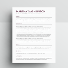 Load image into Gallery viewer, Martha Washington | Google Docs Resume Template | CV Template - MioDocs