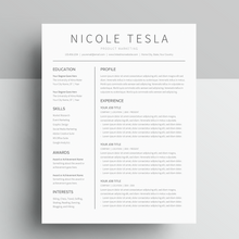 Load image into Gallery viewer, Nicole Tesla | Google Docs Resume Template | CV Template