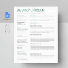 Load image into Gallery viewer, Aubrey Lincoln | Google Docs Resume Template | CV Template