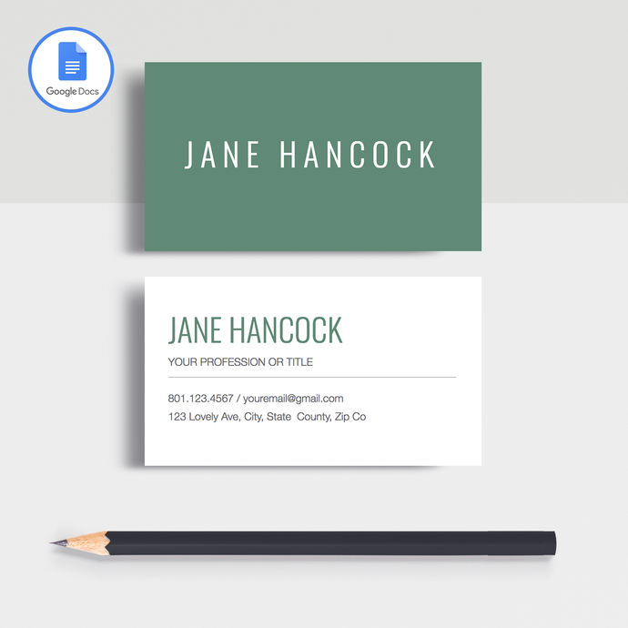 Jane Hancock | Google Docs Professional Business Cards Template - MioDocs