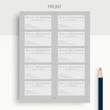 Mila Friedman | Google Docs Professional Business Cards Template