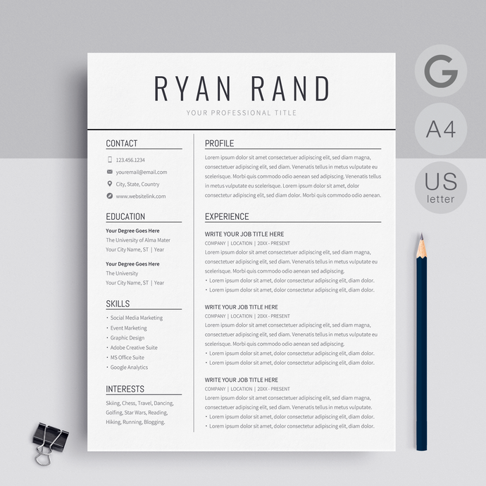 Ryan Rand | Google Docs Resume Template | CV Template