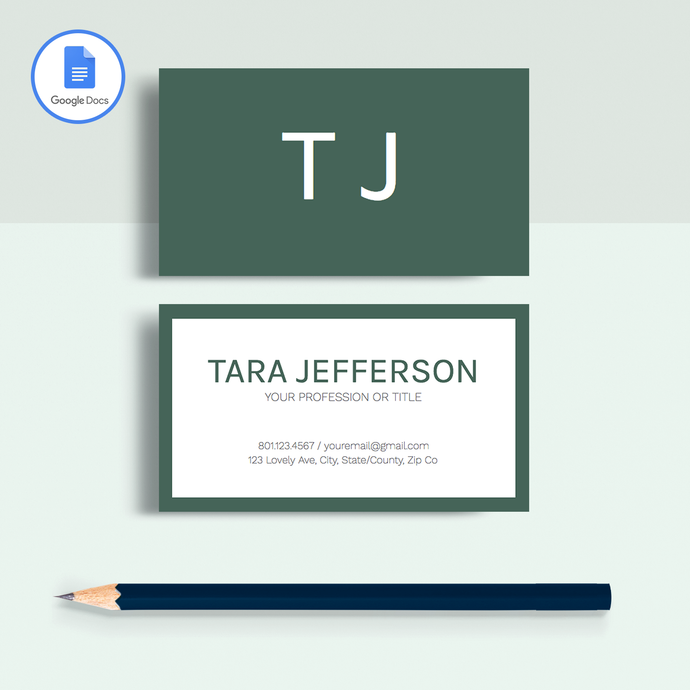 Tara Jefferson | Google Docs Professional Business Cards Template - MioDocs