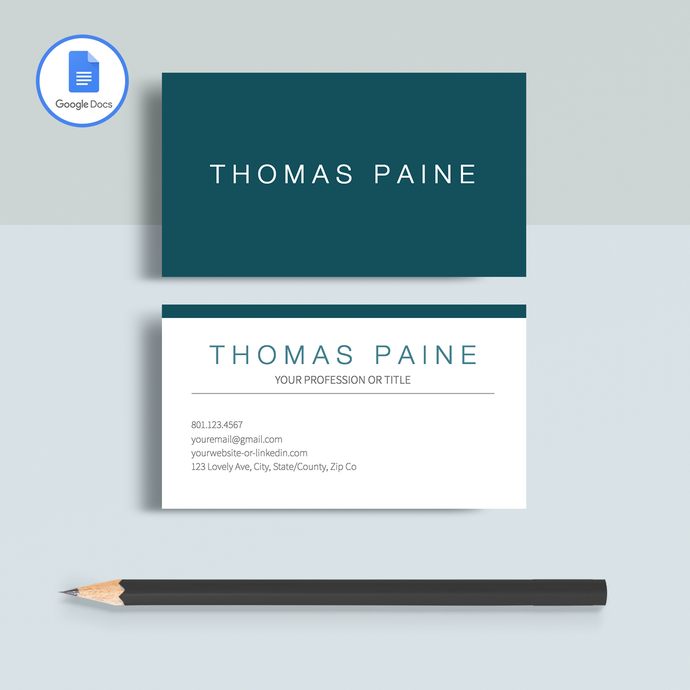 Thomas Paine | Google Docs Professional Business Cards Template - MioDocs