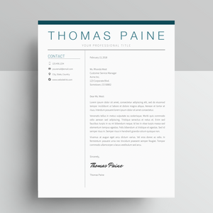 Thomas Paine | Google Docs Resume Template | CV Template - MioDocs