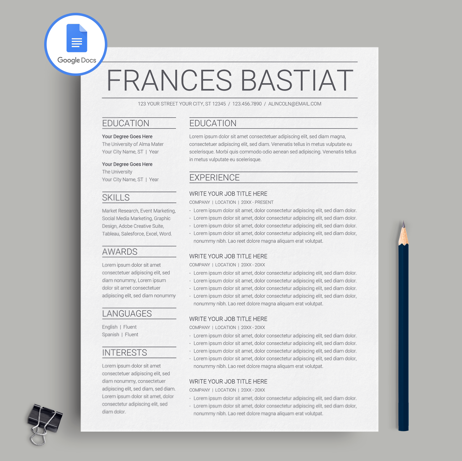 Google Docs Resume Template CV Template Frances Bastiat MioDocs - Google documents resume