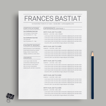Load image into Gallery viewer, Frances Bastiat | Google Docs Resume Template | CV Template - MioDocs
