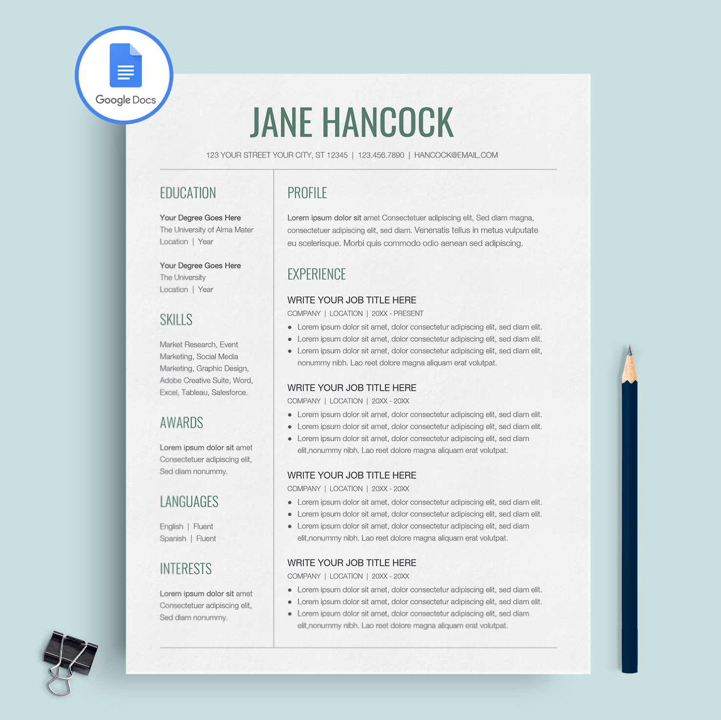 Google Doc Resume Template ...