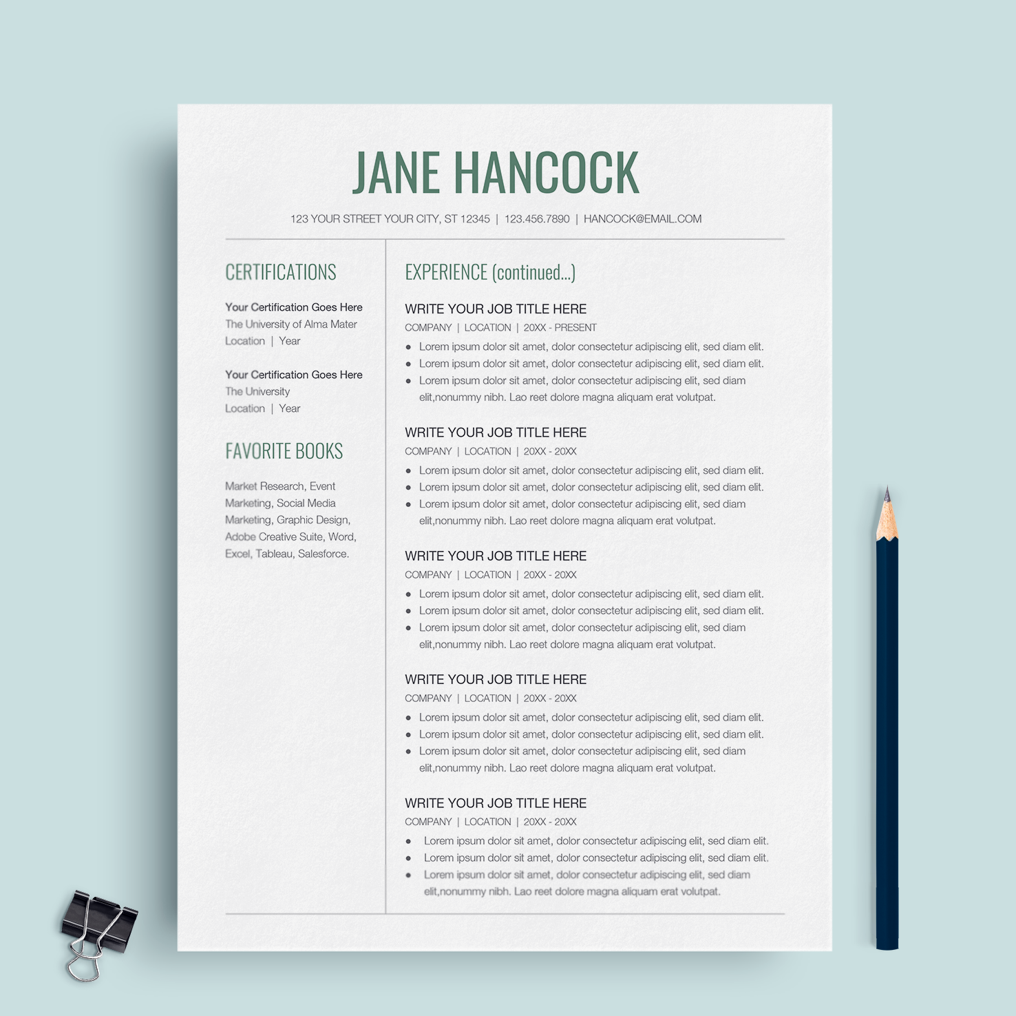 Google Doc Resume Template; Jane Hancock | Google Docs Resume Template | CV  Template ...