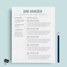 Load image into Gallery viewer, Jane Hancock | Google Docs Resume Template | CV Template