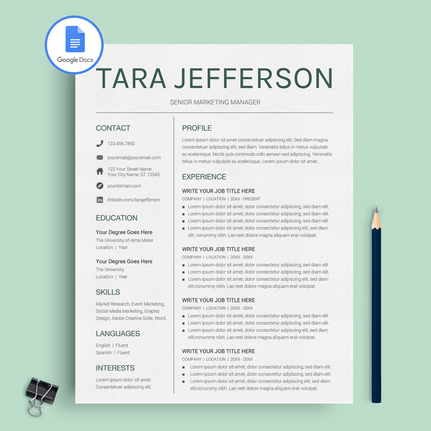 Tara Jefferson Google Docs Resume Template Cv Template