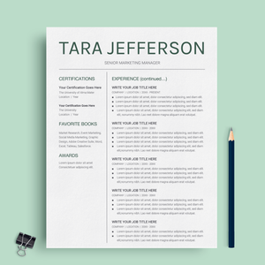 Tara Jefferson | Google Docs Resume Template | CV Template