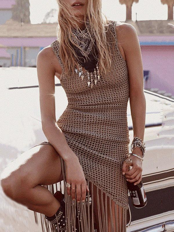 Tasseled Hollow Jumper Swimwear Cover-up