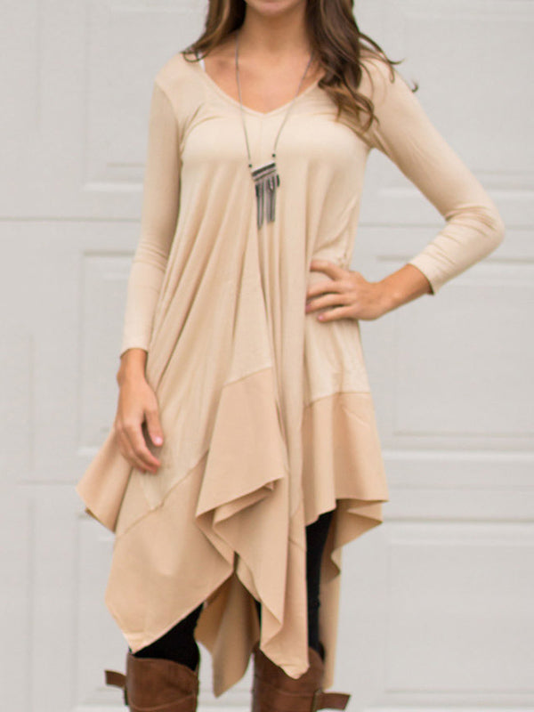 V-neck Cropped Long Sleeves Midi Dress