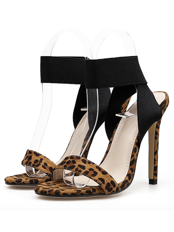 Sexy Leopard Peep Toe Super High Heels